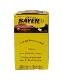 Genuine Bayer Aspirin 50 packet box - front view