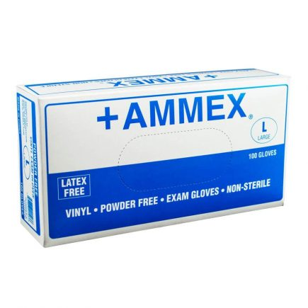 Vinyl exam gloves, large - 100 box front view