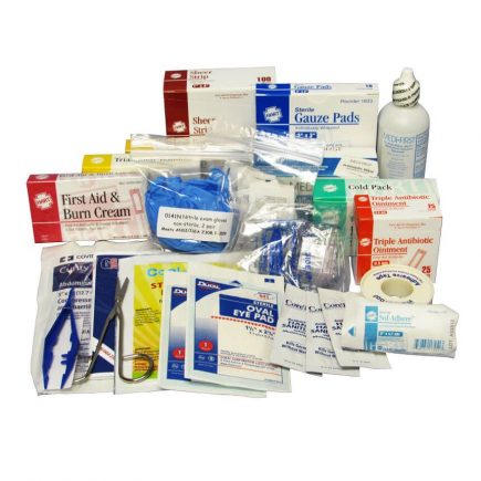 ANSI Basic Industrial First Aid Kit Refill Kit - view of refill kit product content spread out.