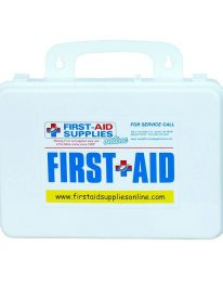 Sixteen unit plastic first aid kit - front view