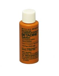 Betadine topical solution - front of bottle view.