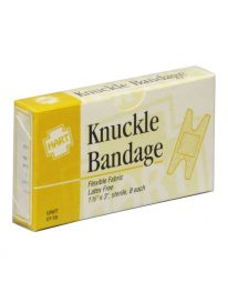 Unit box of 8 fabric woven knuckle bandages - front view.