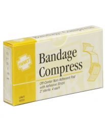 Bandage compress in unit box - front view.