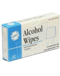 Isopropyl alcohol wipes in unitized box - front view.
