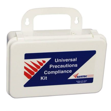 Body Fluid Spill Clean Up Kit with PPE in a Plastic Kit Box - Front view