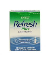 Refresh Plus Lubricant Eye Drops 30 count box - front view